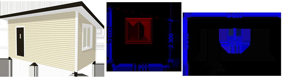 Каркасная постройка 3х6м